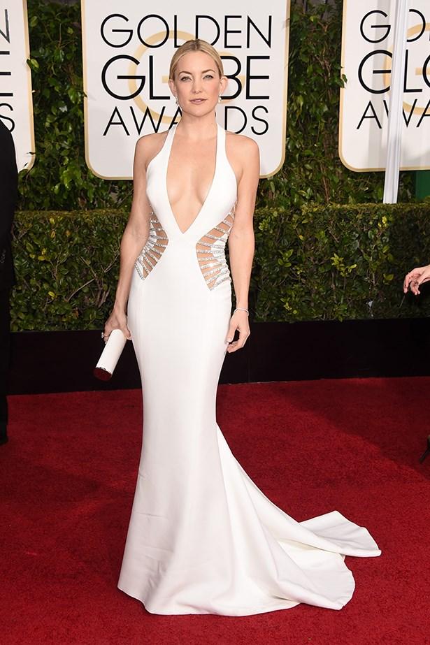Versace: Kate Hudson at the 2015 Golden Globes