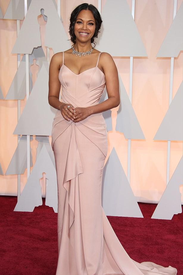 Versace: Zoe Saldana at the 2015 Academy Awards