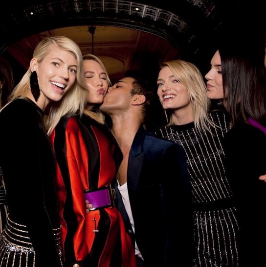 Devon Windsor, Karlie Kloss, Olivier Rousteing, Lily Donaldson and Kendall Jenner<br><br> Image: @devwindsor