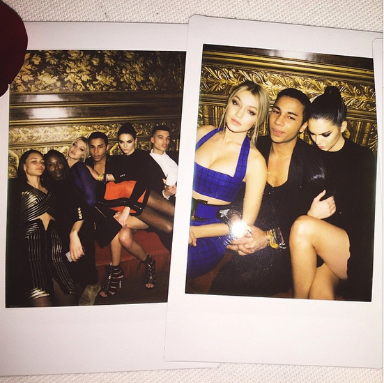 Bink Walton, Riley Montana, Gigi Hadid, Olivier Rousteing and Kendall Jenner at the after-party.<br><br> Image: @kendalljenner