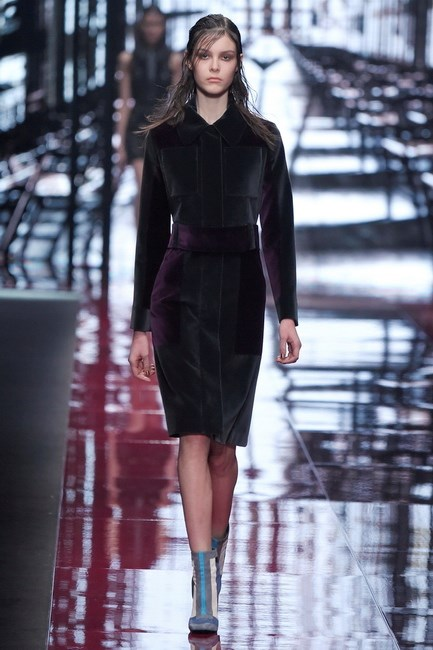 This velvet skirt suit opened the show at Just Cavalli.
