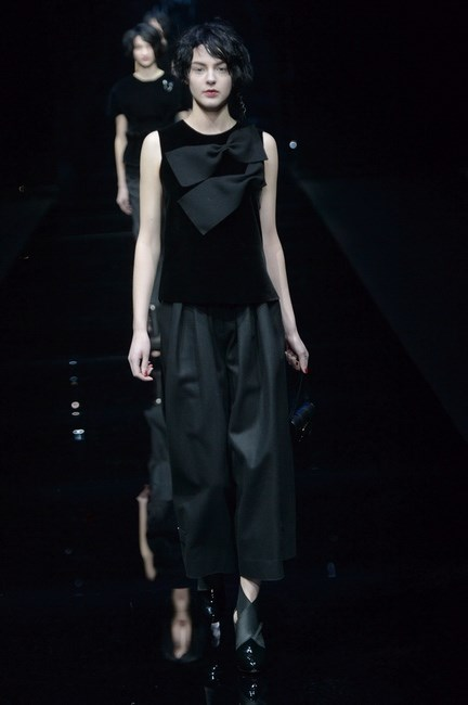 The fabric was used to create this dark and sumptuous look at Emporio Armani