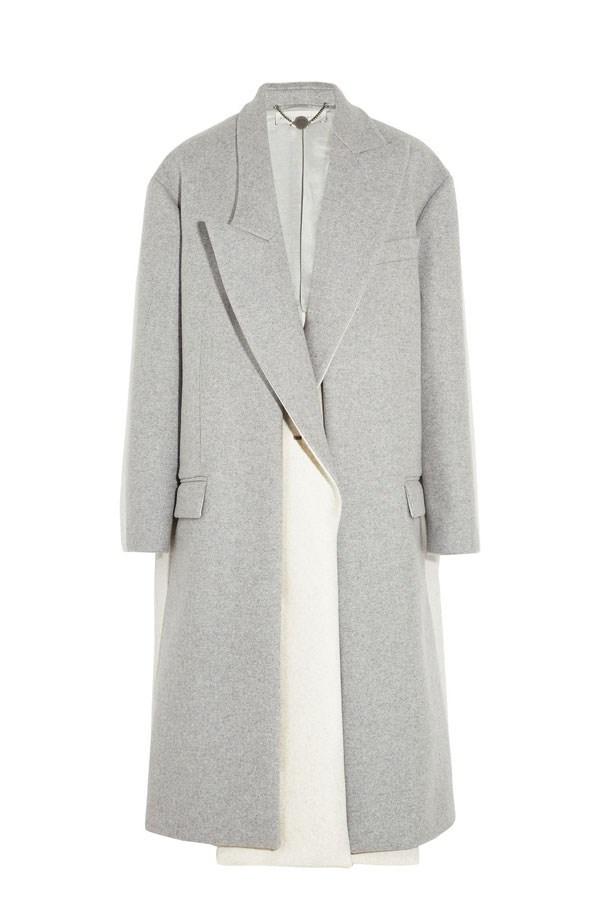 "Curtis Oversized Two-Tone Wool-Blend Felt Coat, approx. $1415, Stella McCartney, <a href=""http://www.theoutnet.com/en-AU/"">theoutnet.com</a>"