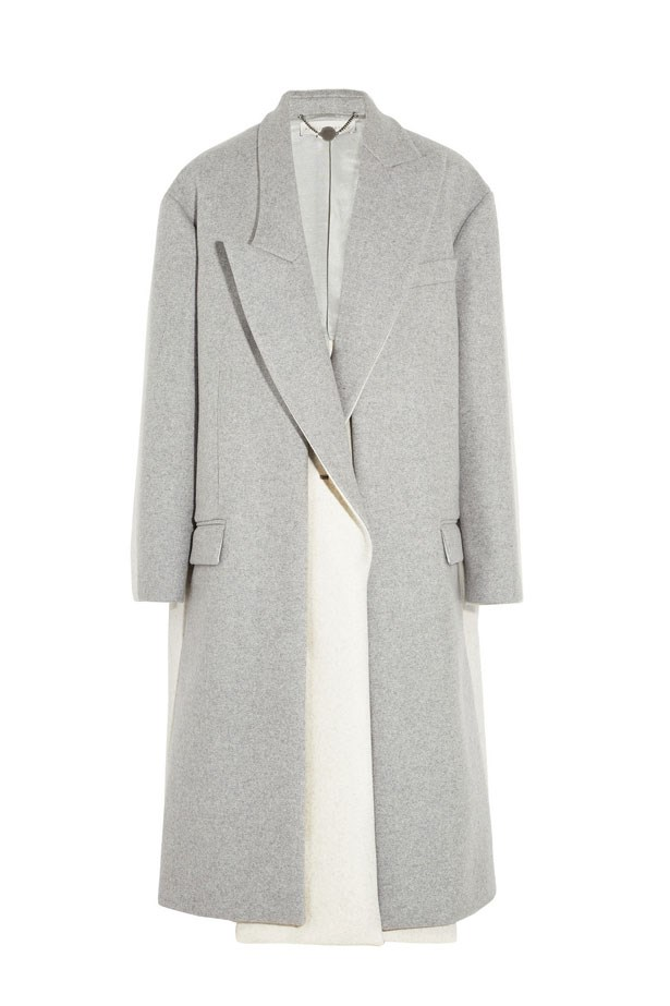 "Curtis Oversized Two-Tone Wool-Blend Felt Coat, approx. $1415, Stella McCartney, <a href=""http://www.theoutnet.com/en-AU/"">theoutnet.com</a>"