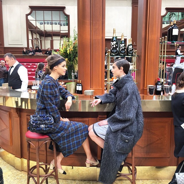 <em>Just chilling and chatting at the Brasserie Gabrielle @chanelofficial #coco #paris #aw15 #pfw #lagerfeld #chanel</em> @elleaus