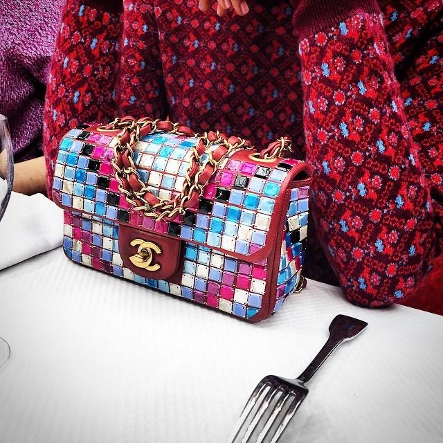 <em>And then I ordered the #Chanel #mosaic #FW15 pochette for brunch #normal - @nausheenshah #PFW #Paris #frontrow #takeover @chanelofficial #fashion #bestmenu #love #farfetch #fashionweek</em> @farfetch