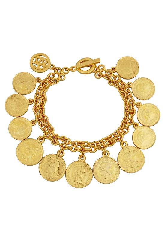 "Moroccan coin gold-plated bracelet, $124, Ben-Amun, <a href=""http://www.theoutnet.com/en-AU/product/Ben-Amun/Moroccan-Coin-gold-plated-bracelet/540582"">www.theoutnet.com</a>"