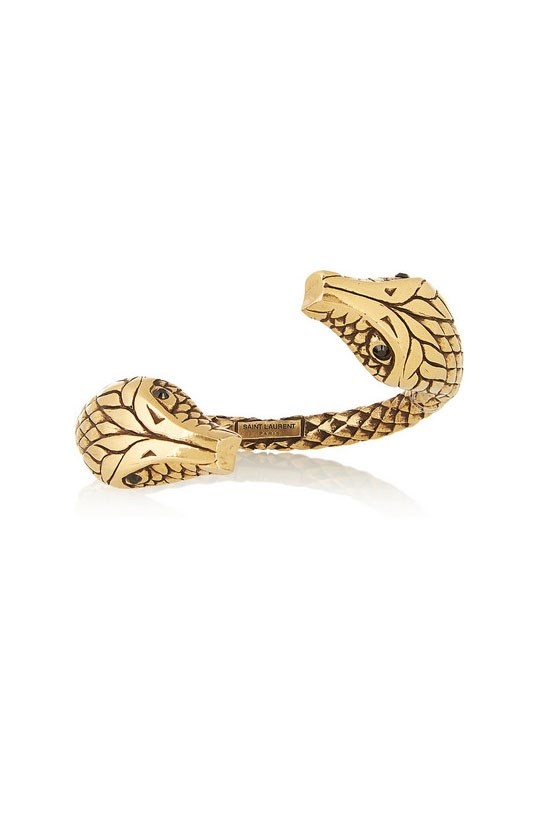 "Gold-plated crystal snake cuff, $1,190.63, Saint Laurent, <a href=""http://www.net-a-porter.com/au/en/product/545467"">www.net-a-porter.com</a>"