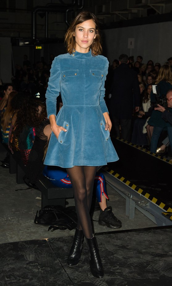 Alexa Chung at London Fashion Week wearing a J.W Anderson dress