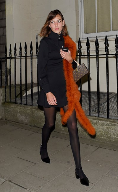 Alexa Chung leaving a London Fashion Week party