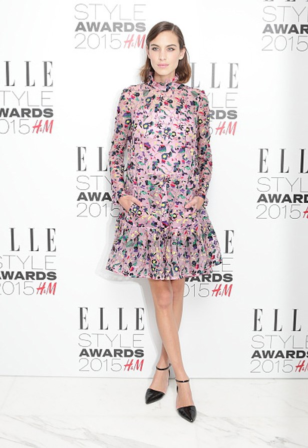 Alexa Chung at Elle Style Awards 2015 wearing Erdem dress and Topshop shoes