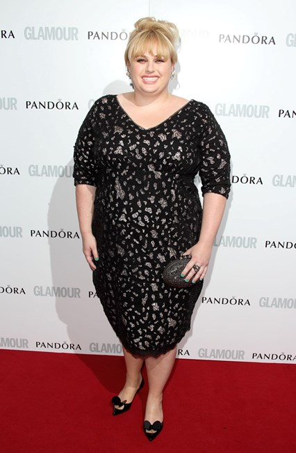 Rebel Wilson at Glamour Women of the Year Awards 2013 wearing Marina Rinaldi dress and Christian Louboutin accessories