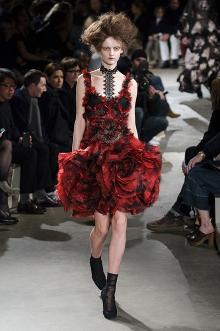 5. There's no such thing as ordinary florals this Winter. <br><br>Take Alexander McQueen's darkly blooming ruffled dress. A rose by any other designer would not look half as sweet.