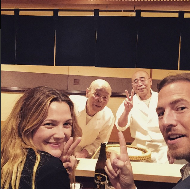 """We dream of sushi with Jiro and Yoshikazu. Dream come true!"" - with husband Will Kopelman at hotspot Sukiyabashi Jiro."