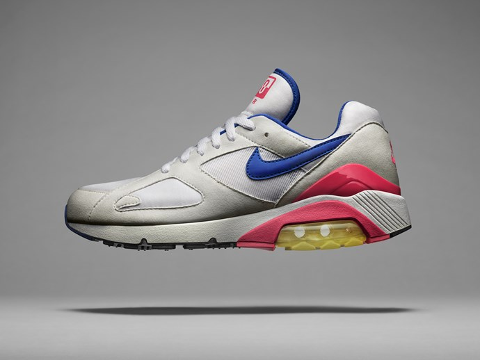 The Nike Air Max 180 was born from the collective minds of Hatfield and Air Force 1 designer Bruce Kilgore. The two legends set out to make the Max Air unit visible on the outsole and midsole, which highlighted the shoe's 180 degrees of cushioning.