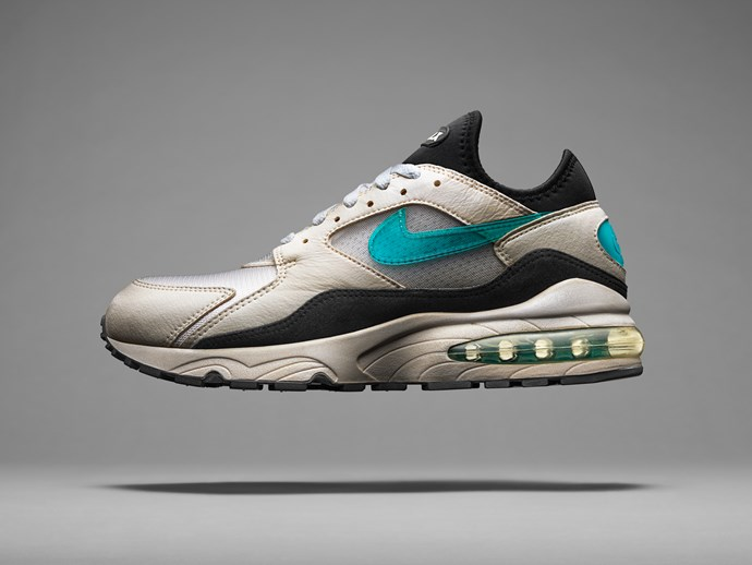 Hatfield's latest creation was built on the Air Max 90's flex grooves and used a dynamic-fit neoprene inner sleeve to give the foot and ankle added support.<br><br> Then there was the not-so-small matter of the 270-degrees of visible air. The precision-engineered blow-molded Air-Sole unit — inspired by plastic milk jugs — created completely new standards of cushioning and became the cornerstone for visible air in the forefoot.