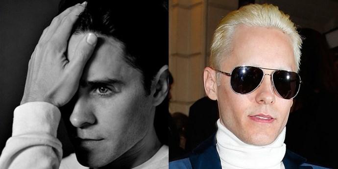 """Seems like <strong>Jared Leto</strong> couldn't take being so """"basic"""" with short brown hair for too long. Just days after lopping off his beloved long locks, he went ahead and bleached his new do. Coincidentally, Kim Kardashian chose the Balmain show in Paris as they same place to debut her freshly dyed blond hair, too. Great minds."""