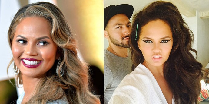 """<strong>Chrissy Teigen</strong> went dark! Just two days after the Academy Awards, the model teased the change when she Instagrammed herself in the salon chair with the caption, """"LOOK WHAT IS HAPPENING."""" She posted the gorgeous results later."""
