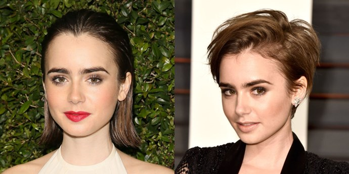 The Academy Awards seem to be the perfect place to debut a new do! <strong>Lily Collins</strong> showed up at the after-party with a new punky pixie that accentuates her killer eyebrows even more.