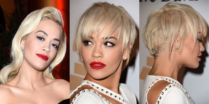 Hair chameleon <strong>Rita Ora</strong> is at it again, debuting what might just be our favorite of her styles yet—and that's saying a lot! We're just obsessed with her new choppy pixie. It's the perfect mix of edgy and sexy.