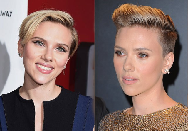 Is it just us, or is <strong>ScarJo</strong> totally channeling Miley Cyrus with her new do? The bombshell actress and new mom, who's been sporting a pixie since July, has steadily been going shorter and shorter. We love how this bold new undercut shows off her perfect bone structure. (It really is perfect, no?)