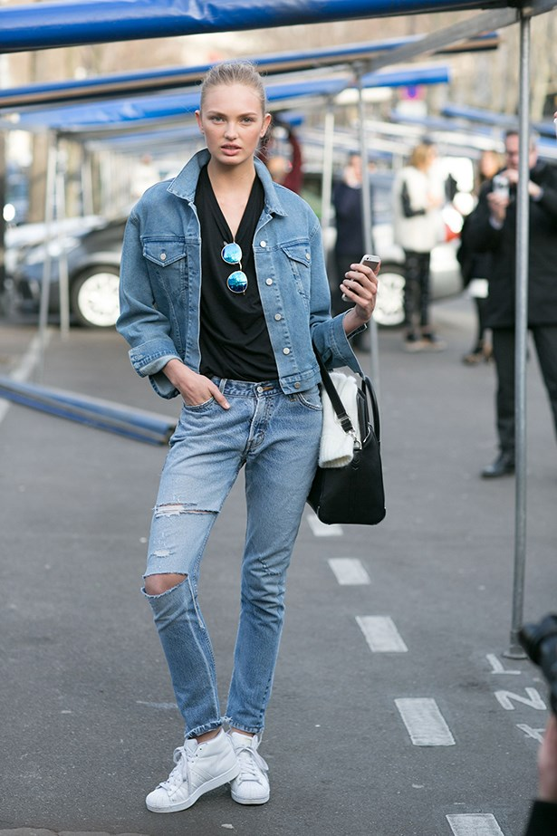 Double denim is still definitely a thing.