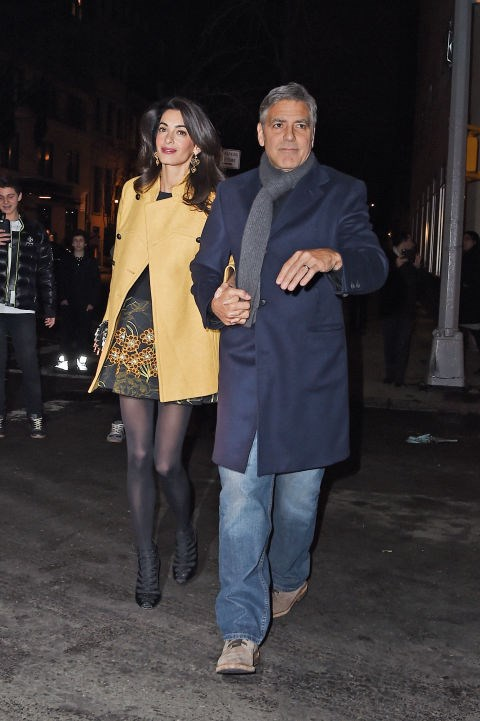 <strong>MARCH 7, 2015</strong> Leaving Japanese restaurant Kappo Masa with George Clooney in New York City.
