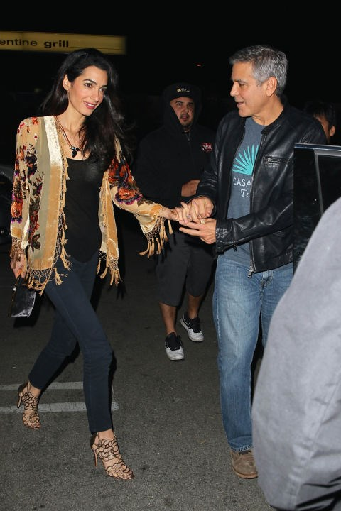 <strong>DECEMBER 14, 2014</strong> Going out for sushi with George Clooney in Studio City, California.
