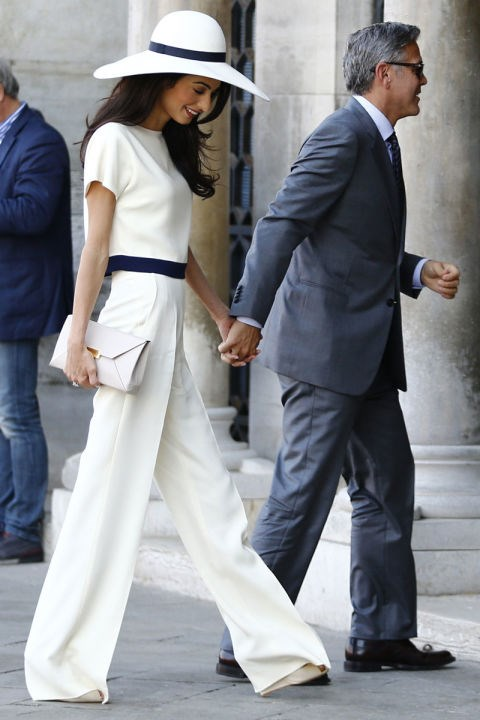 <strong>SEPTEMBER 29, 2014</strong> Heading out with George Clooney for the civil ceremony of their wedding in Venice.