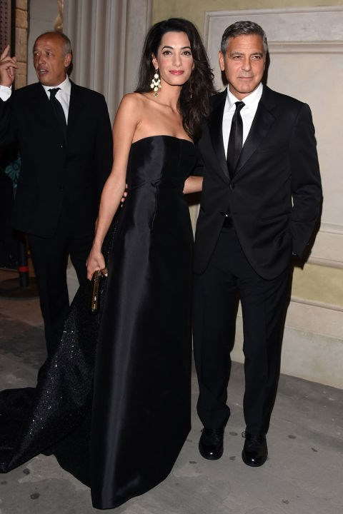 <strong>SEPTEMBER 7, 2014</strong> With George Clooney at a gala in Florence.