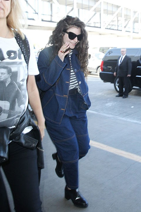 <strong>LORDE</strong> <BR> Lorde makes the Canadian tux work for traveling.