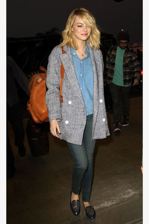 <strong>EMMA STONE</strong> <BR> This actress's classic chambray shirt, oversized jacket, and loafers have an easy, borrowed-from-the-boys charm. So follow her lead and raid your man's closet before you head out of town.