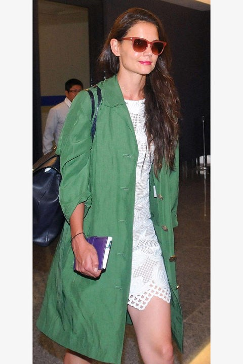 <strong>KATIE HOLMES</strong> <BR> We're loving this play on the trench: Make it green and a bit more modern.