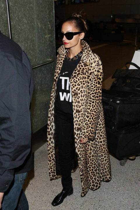 <strong>NICOLE RICHIE</strong> <BR> A leopard coat will take an otherwise casual look up in elevation with you.