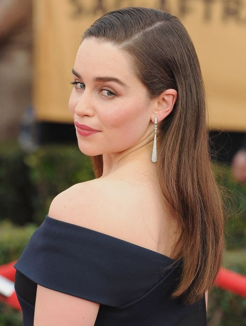 Slick your hair behind your ear to show off great accessories, like Emilia Clarke
