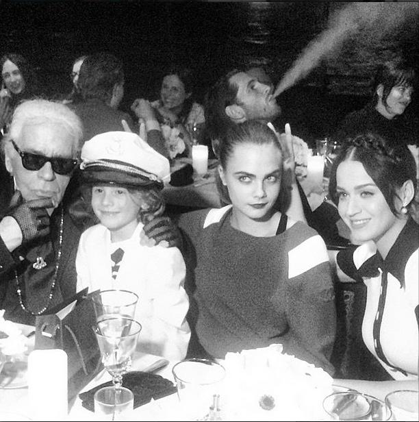 Karl Lagerfeld, Hudson Kroenig, Cara Delevingne and Katy Perry <br><br> Source: @caradelevingne