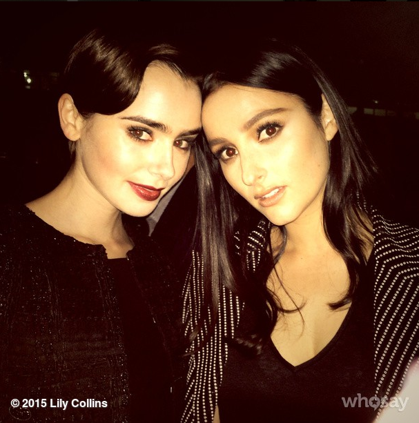 Lily Collins and Banks <br><br> Source: @lilyjcollins