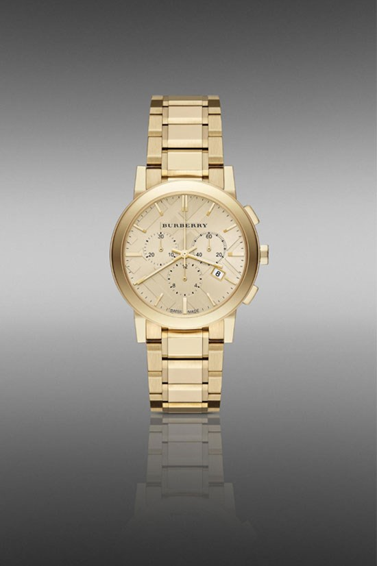 "The City BU9753 38mm Chronograph in yellow gold, $1,200, Burberry, <a href=""http://au.burberry.com/the-city-bu9753-38mm-chronograph-p39169151"">au.burberry.com</a>"