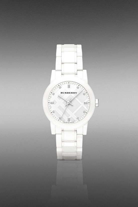 "The City BU1982 34mm Diamond Indexes in white, $1,700, Burberry, <a href=""http://au.burberry.com/the-city-bu9182-34mm-diamond-indexes-p39001821"">au.burberry.com</a>"