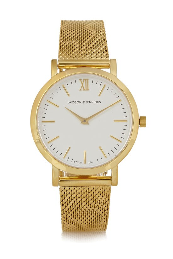 "Liten small gold-plated watch, $410.15, Larsson & Jennings, <a href=""http://www.net-a-porter.com/au/en/product/521304"">www.net-a-porter.com</a>"