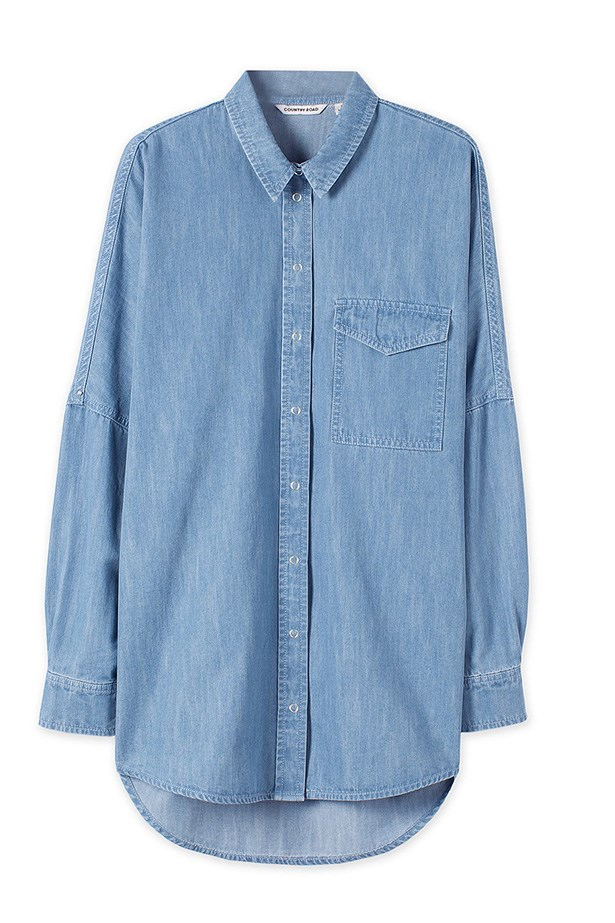 "Shirt, $119, Country Road, <a href=""http://www.countryroad.com.au/shop/woman/clothing/shirts/60178200/Chambray-Raglan-Boyfriend-Shirt.html"">countryroad.com.au</a>"
