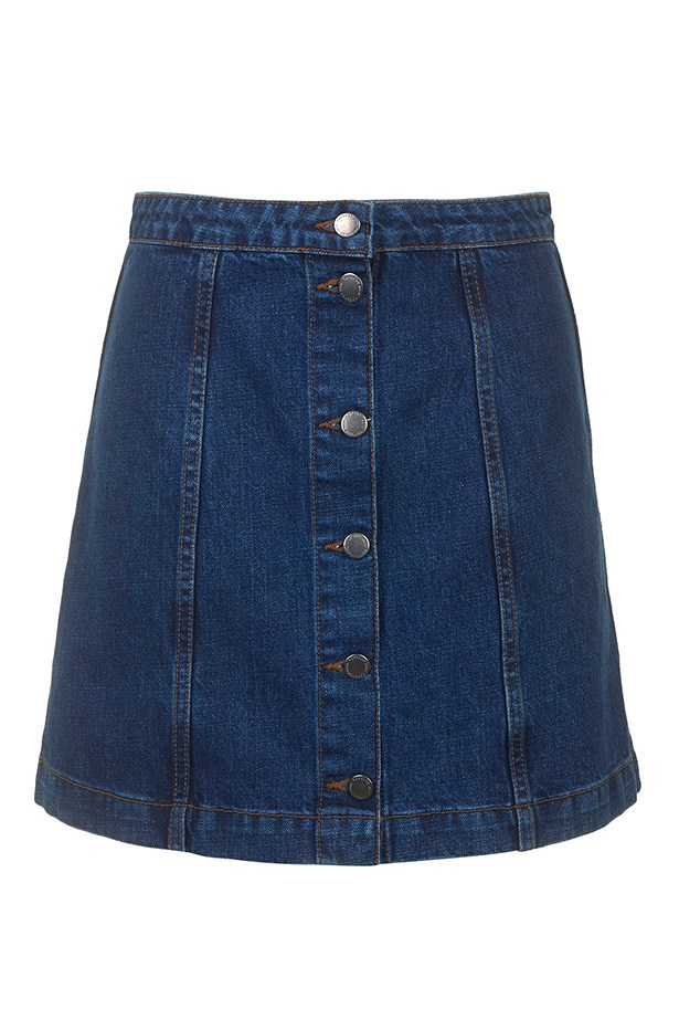 "Skirt, $54, Topshop, <a href=""http://www.topshop.com/en/tsuk/product/clothing-427/denim-897/view-all-1804017/moto-button-front-a-line-skirt-4209043?bi=1&ps=20"">topshop.com</a>"