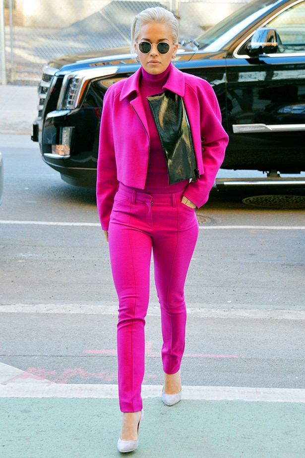 Rita Ora, known to bring her highly-stylised flair to any look, shows that: a) dressing entirely in pink is a bucket list to-do, and b) turtle necks can complete an all-over pink look.