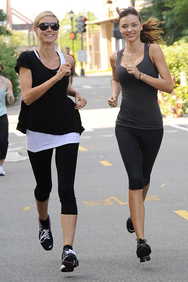 Heidi Klum and Miranda Kerr on a run