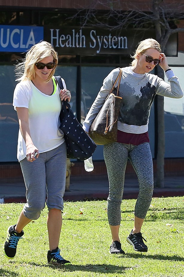 Here are the active two leaving another yoga class. While Naomi is Reese's official fitness friend, occasionally she gives her a break and gives hubby Jim Toth a run for his money. Or health, whatever.