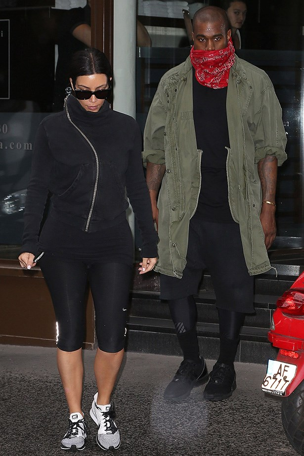 We've got to give it to Kim Kardashian and Kanye West, they are both serious fashion fiends. Even on a couple's workout they keep it chic and co-ordinated. No word yet on whether the post-gym endorphins will kick in and let us catch a smile from the two.