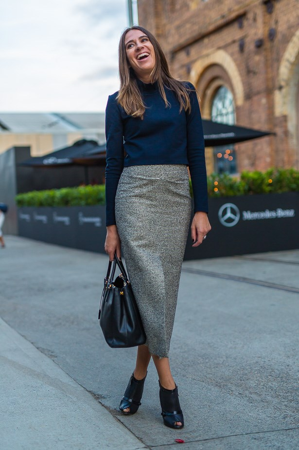 Lidia Misev wearing  Witchery top and Ellery skirt with Prada bag.