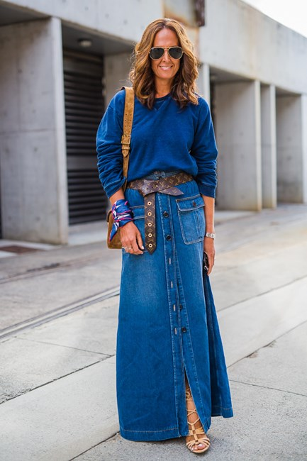 Tash Sefton wearing Chloe, belt by Louis Vuitton and bag by Gucci.