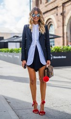 Elle Ferguson wearing Bassike, bag by Louis Vuitton and shoes by Altuzarra.