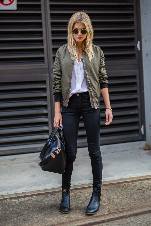 Megan Blake Irwin wearing Equipment shirt, Acne jeans and Topshop jacket.
